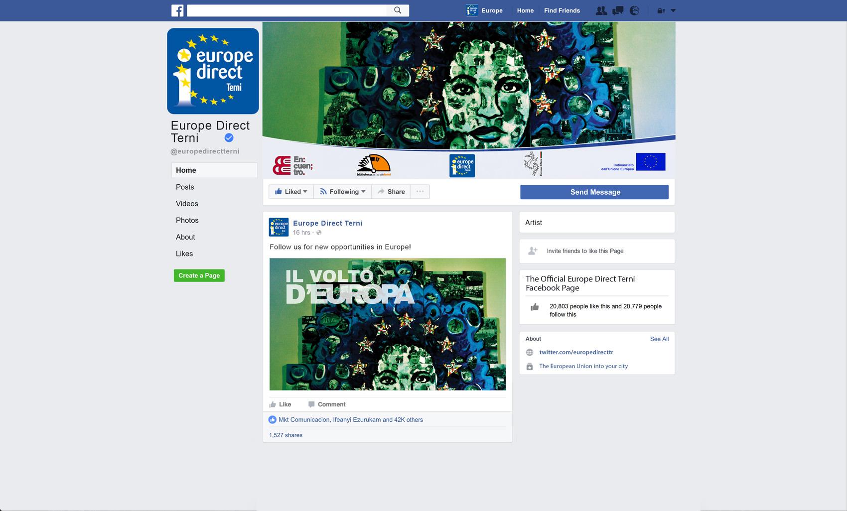 pagina facebook Europe Direct Terni